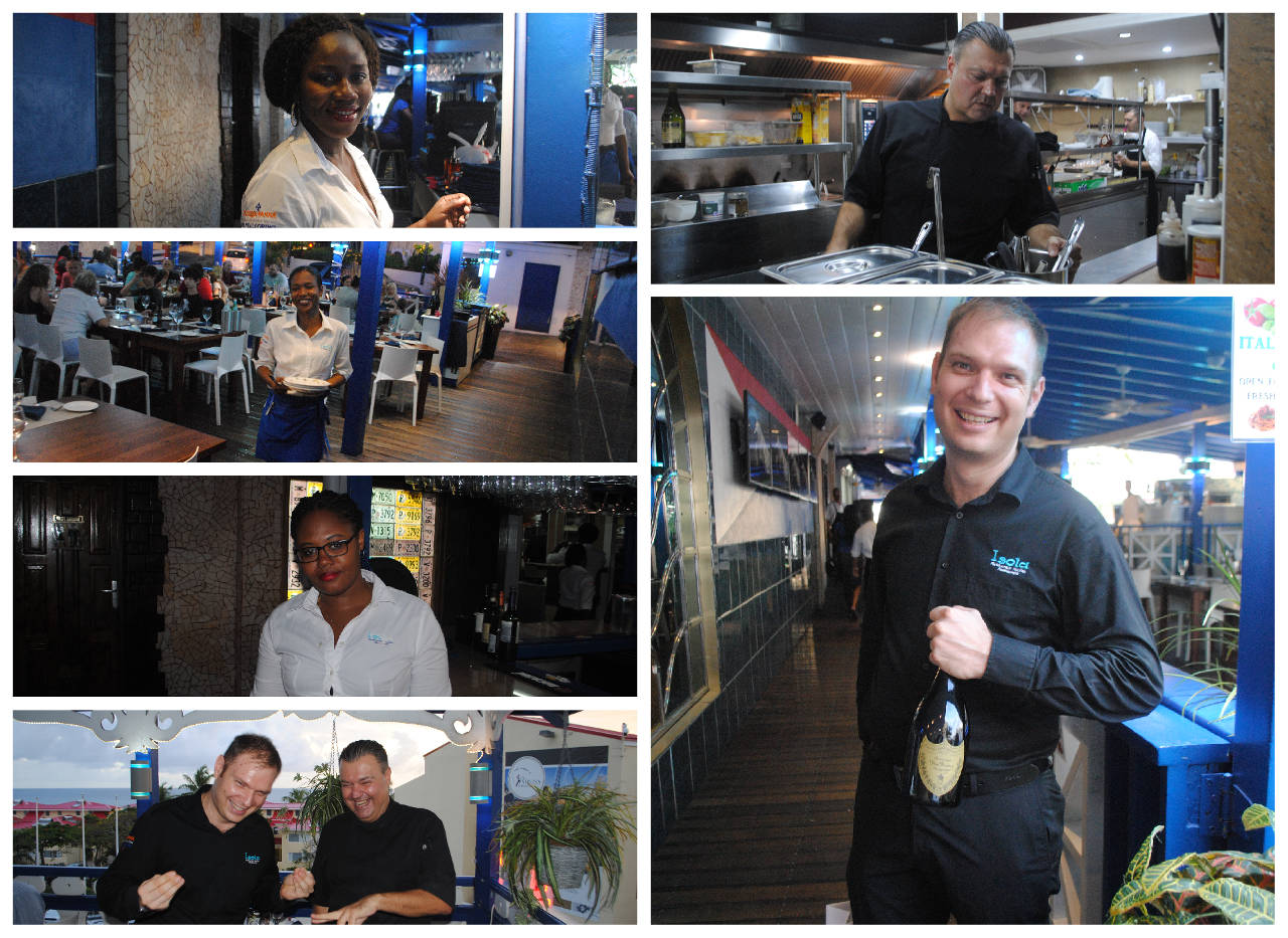 isola italian restaurant st maarten team collage 1